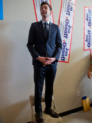 Democrat Jon Ossoff talks to supporters on Election Day, Marietta, Ga., April 18, 2017.