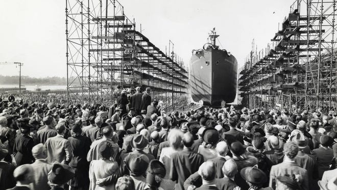 A massive crowd gathers to watch the Dec. 6, 1941, launch of the USS Zebulon B. Vance from the North Carolina Shipbuilding Company in Wilmington.