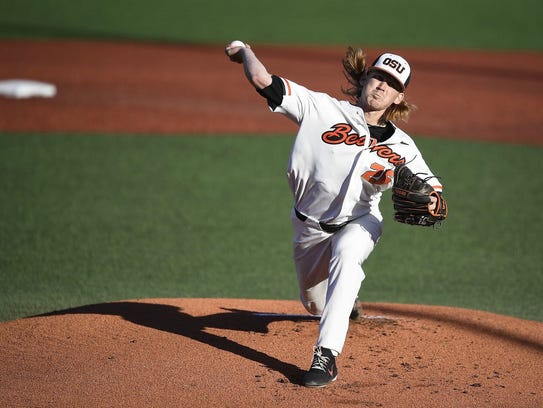 OSU's Bryce Fehmel had a season-high nine strikeouts in the Beavers 9-3 win over Northwestern State in the Corvallis Regional on June 1, 2018.