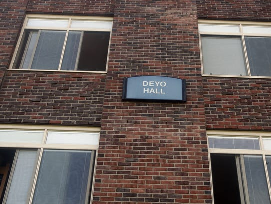 Deyo Hall at SUNY New Paltz. Several buildings at the college are named for families of early settlers of New Paltz who were slaveowners. School officials are examining the possibility of removing these names.