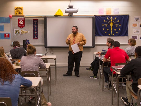 Jeff Johnson gets his AP Psychology class started at Central High School.