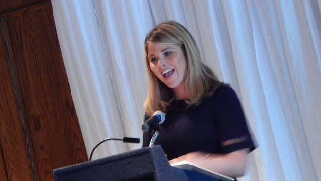Jenna Bush Hager speaks to crowd of over 400 women during Women's Day at the Sanderson Farms Championship Golf Tournament in Jackson.