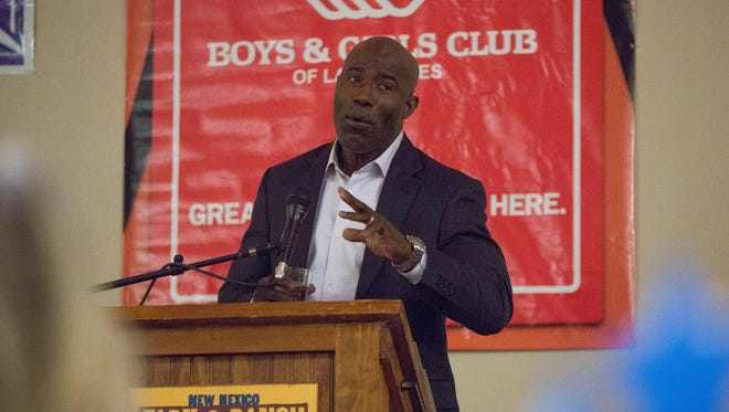 Terrell Davis, NFL Hall of Famer and former running back for the Denver Broncos, speaks at the Lou Henson Community Breakfast for the Boys and Girls Club of Las Cruces, Thursday April 19, 2018 at the New Mexico Farm and Ranch Museum.