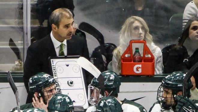 MSU Hockey Coach Tom Anastos coaches his Spartans Janaury 8, 2016, against Michigan.  MSU lost 9-2 at Munn Arena.