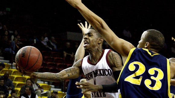 Former New Mexico State guard Jahmar Young as been added to the NMSU alumni team for the Battle of the Rio Grande NMSU-New Mexico alumni game.