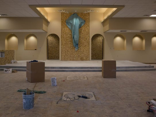 Work continues on the interior of the Santa Rosa de