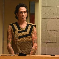 Drummer Deen Castronovo, 50, appears in court during his arraignment on Tuesday, June 30, 2015, at the Marion County Court Annex in Salem. Castronovo was arrested on several charges, including rape and sexual assault.