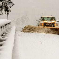 This 2011 photo shows a snowplow clearing roads in the Hudson Valley, New York.