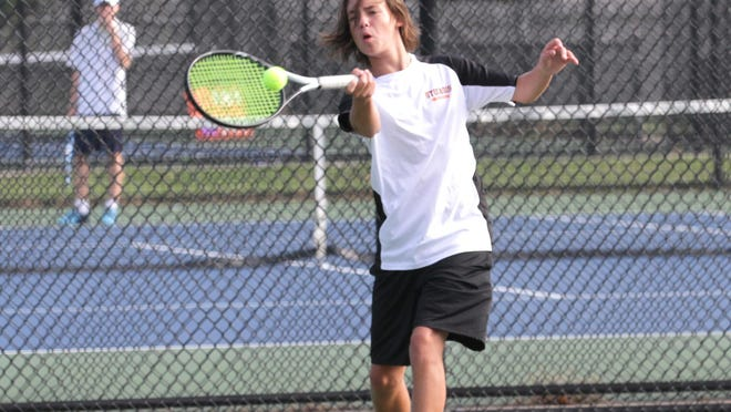 Sturgis tennis player Matt Wynes returns a shot in a match last fall. On Wednesday, the MHSAA put out some guidelines on returning sports back into the mix.