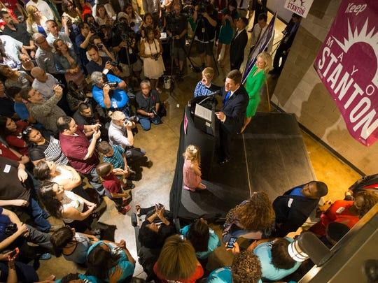 Phoenix Mayor Greg Stanton speaks to supporters at
