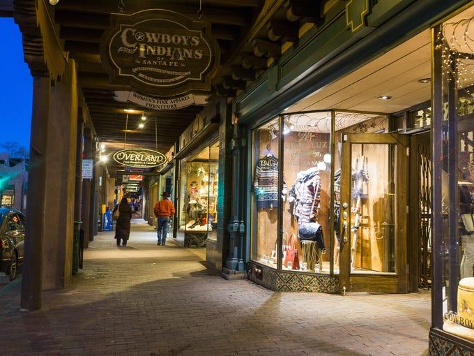 Shops on E. San Francisco St. in Santa Fe, New Mexico