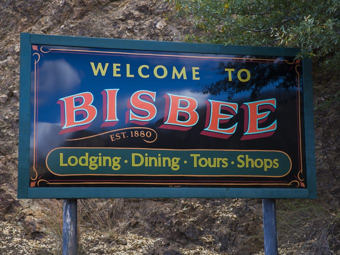 A sign for Bisbee, Ariz. March 28, 2017.