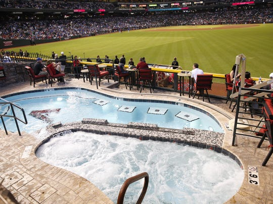 The pool at Chase Field during a game.
