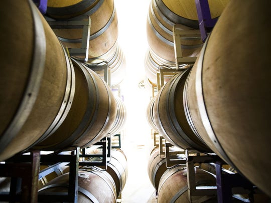 Barrels of wine at Deep Sky Vineyard in Elgin, Ariz.
