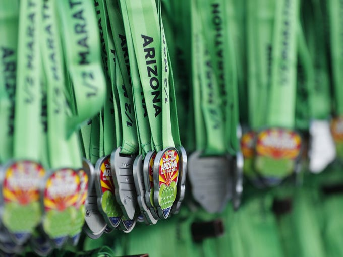 Finishers medals for the Rock 'n' Roll half-marathon