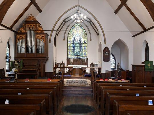 The interior of the original chapel at Saint James Episcopal Church. (Robin Buckson / The Detroit News)
