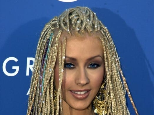 Singer Christina Aguilera in one of her many misguided hairstyles. (We couldn't find a good hair photo of Aguilera).
