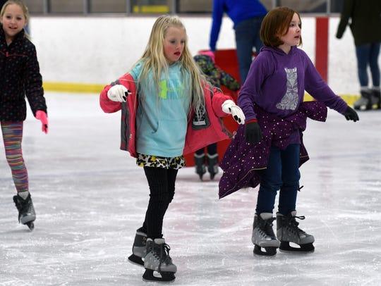 Both the young and old enjoy open skate at The Rink