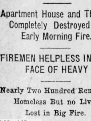 Headline in Greenville Daily news after devastating fire in 1919.
