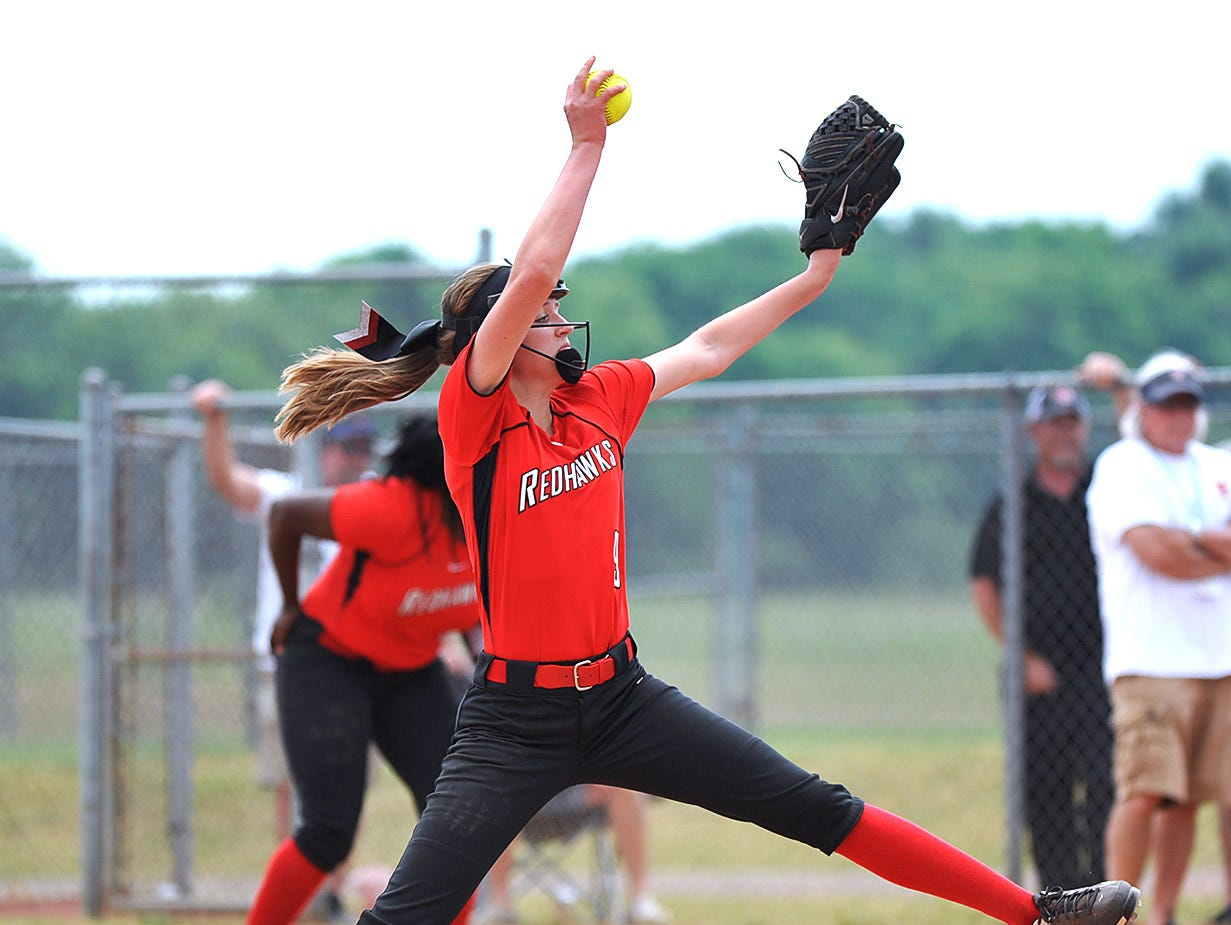Stewarts Creek ace Kendall Mills fires a strike against Dickson County in the AAA State Championships at Spring Fling 2016 Wednesday, May 25, 2016 in Murfreesboro, Tenn.