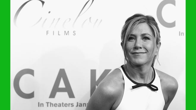 """Jennifer Aniston at the Hollywood premiere of """"Cake"""" on Jan. 14. She plays a woman suffering from chronic pain in the indie drama."""
