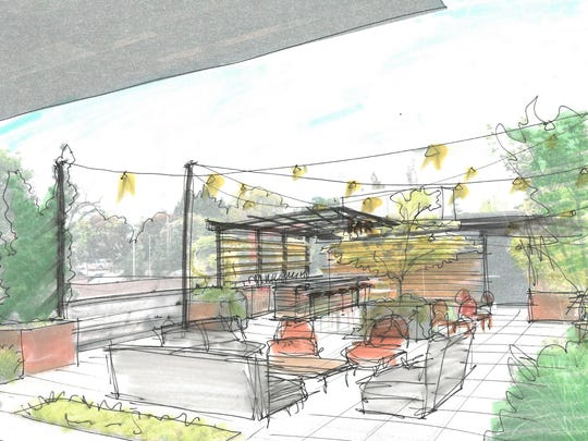 Sketch by CB|Two Architects of the roof deck at Basil & Board.