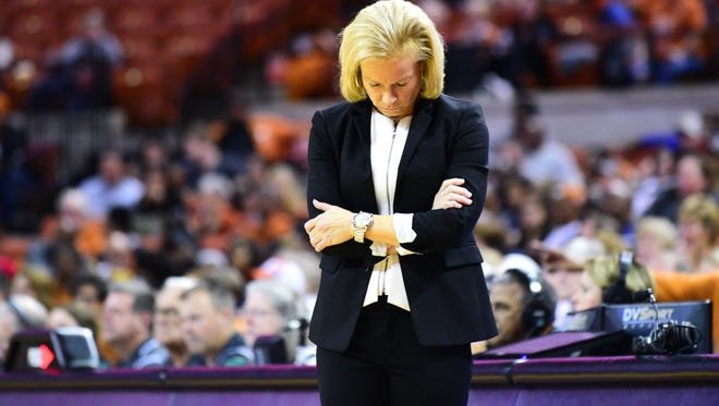 Florida State women's basketball head coach Sue Semrau expresses disbelief after a missed shot during the third quarter against Texas.