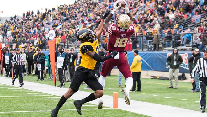 Florida State junior wide reciever Auden Tate (18) scores a touchdown pass during the fourth quarter against Southern Mississippi at the Independence Bowl