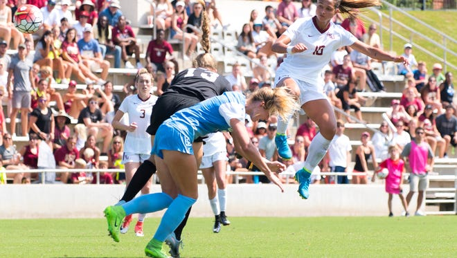 Florida State sophomore forward Deyna Castellanos (25) delivers an accidental blow to a North Carolina player at the Seminole Soccer Complex on Sunday, September 17th.