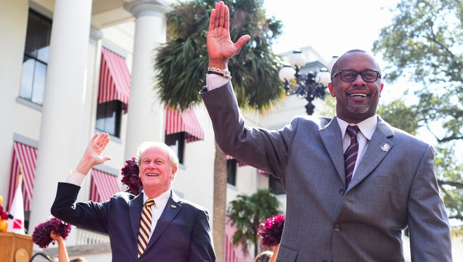 Florida State President John Thrasher and head football coach Willie Taggart chop together to the tune of the WarChant during the annual FSU at the Capitol Day on Tuesday, February 6th.