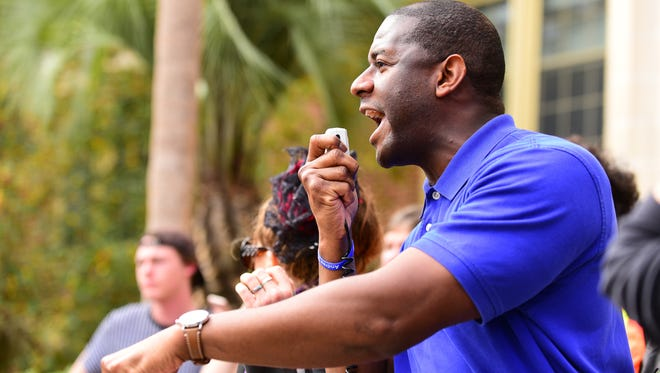 Tallahassee mayor Andrew Gillum speaks at the March Against Gun Violence rally at Florida State University on Wednesday.