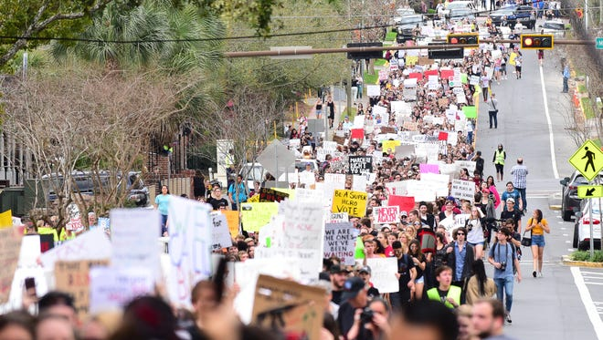 Students from Florida State University marched to the Florida Capitol on Wednesday in support of gun reform.