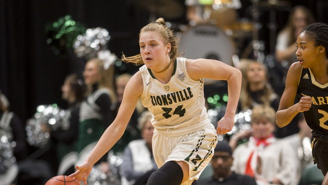 Zionsville High School junior guard Maddie Nolan (24) races the ball up court during the first half of the 43rd Annual IHSAA Girls Basketball State Finals class 4A championship game, Saturday, February 24, 2018, at Bankers Life Fieldhouse in Indianapolis.