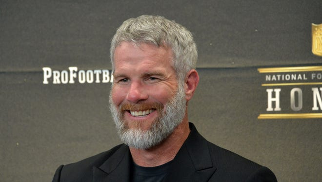 Brett Favre looks on during a press conference to announce the Pro Football Hall of Fame Class of 2016 at Bill Graham Civic Auditorium.