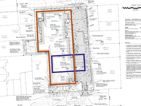 The footprint of the former Ethan Allen Club building (shown in purple) is shown in scale to the new YMCA building (orange) proposed to replace it on College Street in Burlington.