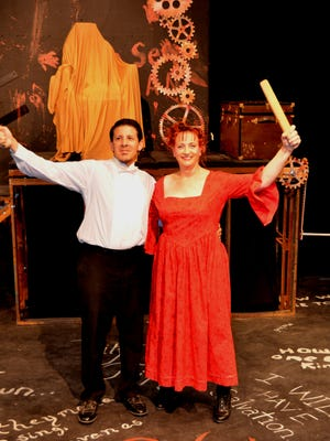 "Starring in ""Sweeney Todd,"" opening today at the Black Box Theatre are Rafael Medina as Sweeney and Diane Thomas as Mrs. Lovett."