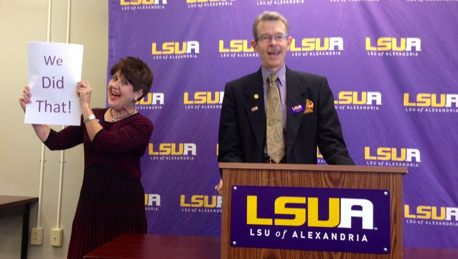 LSUA Chancellor Dan Howard (right) is stepping down from his position in August. Here he announces an increase in enrollment in 2015.