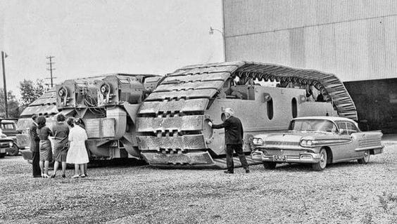 NASA contracted Marion Power Shovel in the 1960s to construct and deliver transporter treads used to move rockets during the Apollo, Skylab, Apollo-Soyuz, and Space Shuttle programs.