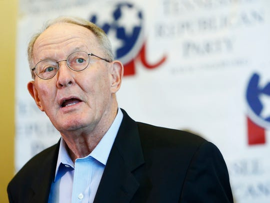 Sen. Lamar Alexander speaks during a unity rally at the Omni Hotel on Aug. 4, 2018 in Nashville.