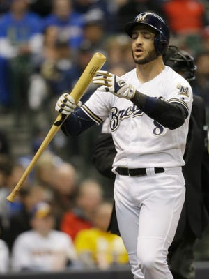 Brewers leftfielder Ryan Braun struck out twice vs. the Rockies on opening day.