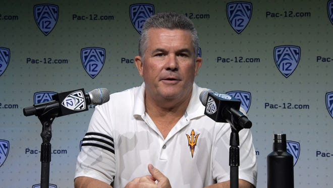 Jul 27, 2017; Hollywood, CA, USA; Arizona State Sun Devils coach Todd Graham speaks during Pac-12 media day at Hollywood & Highland. Mandatory Credit: Kirby Lee-USA TODAY Sports