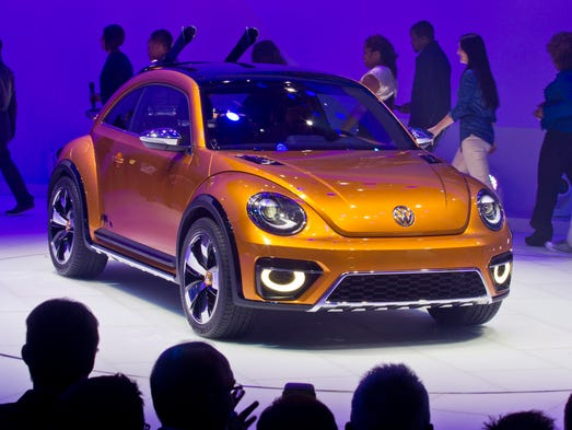 The Volkswagen Beetle Dune concept car after its unveiling at the North American International Auto Show in Detroit.