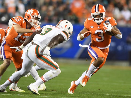 Clemson wide receiver Amari Rodgers (3) makes a reception against Miami during the 3rd quarter of the ACC championship game against Miami at Bank of America Stadium in Charlotte on Saturday, December 2, 2017.
