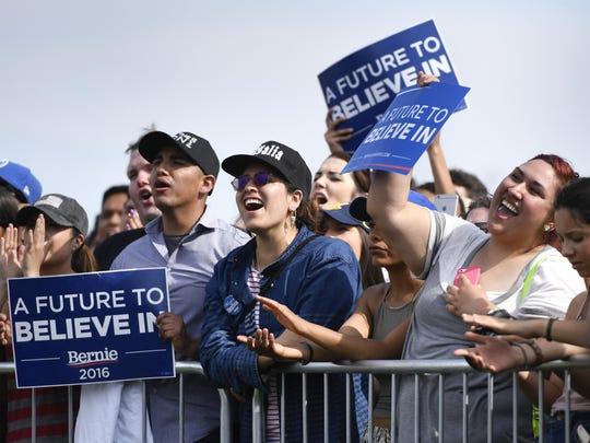 Bernie Sanders spoke at a rally at Groppetti Community Stadium in Visalia on Sunday, May 29, 2016.