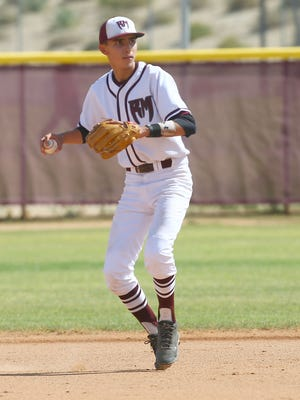 Ryan Rodriguez makes an out during Rancho Mirage's win over Mountain View, May 18, 2016.