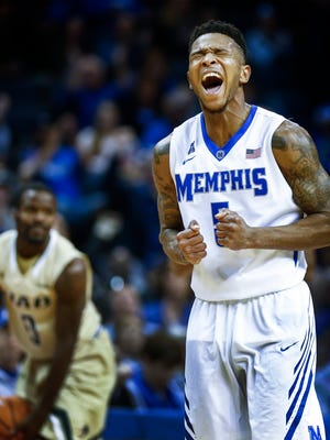 University of Memphis guard Markel Crawford celebrates a UAB turnover during the final minutes of a 62-55 victory at the FedExForum.