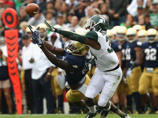 Darqueze Dennard and Michigan State's defense were called for five pass interference penalties in a 17-13 loss at Notre Dame in 2013. The Spartans didn't lose again that year, winning the Big Ten title and the Rose Bowl.