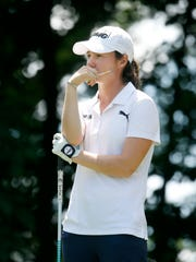 Leona Maguire stands on the 11th tee during Wednesday afternoon's Pro-Am at the Brook-Lea Country Club. Maguire and her twin sister Lisa graduated from Duke University this spring and turned professional last month.