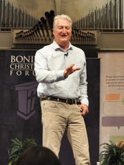 Andy Andrews addresses the audience with humor and insight during the season opener of the Bonita Christian Forum Nov. 14 at First Presbyterian Church.