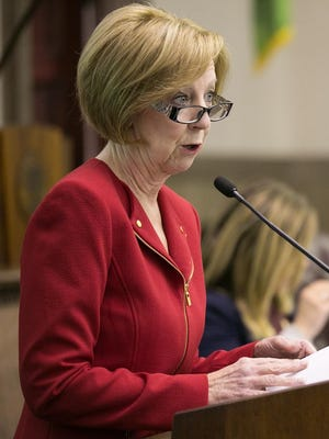 Monroe County Executive Maggie Brooks delivers her 2016 budget proposal last month.